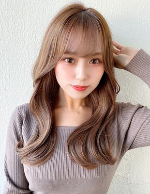 前髪/前髪パーマ/セミロング/後れ毛/小顔/エギョモリ/ことりベージュ(ch-34)