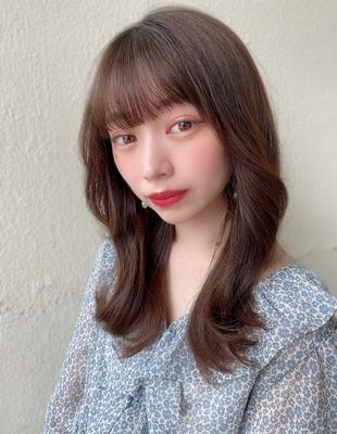 くびれヘア/くびれミディ/小顔/大人かわいい/前髪パーマ(ch-35)