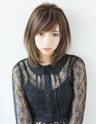 丸顔でお悩みミディアムヘアの髪型(YR-089)