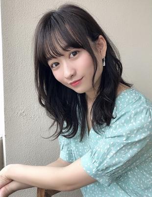 黒髪暗髪前髪パーマくびれヘア(SY-454)