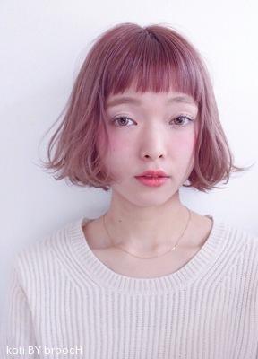シャーベットピンクのベイビーバングボブ★