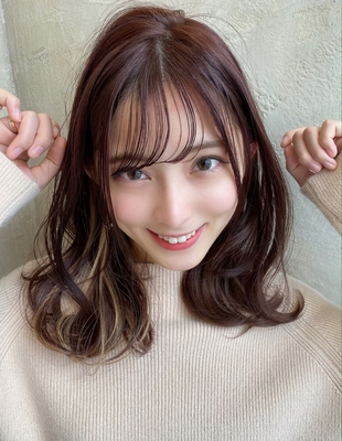 ひし形シルエット ピンクベージュ インナーカラー バランス◎薄め前髪 (SHー31)