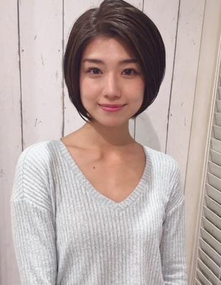 前髪長め大人かわいいナチュラルショートボブ(YK−294)