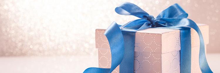プレゼント 青いリボン