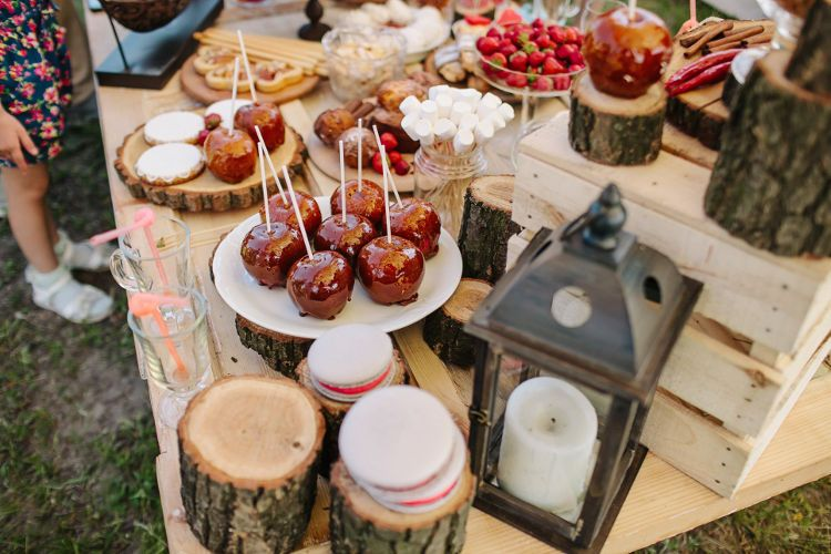 結婚式 デザートブッフェ りんご 秋 ウエディング