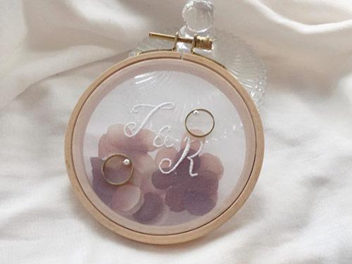 リングピロー 刺繍×ガラスケース