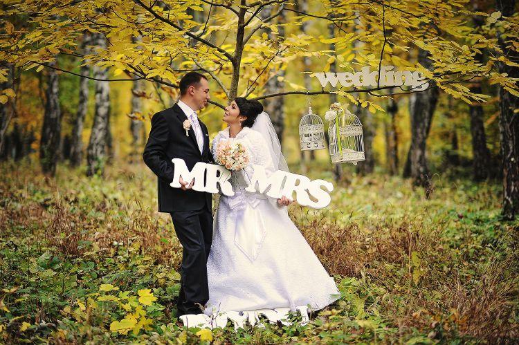 結婚式 秋 ウエディング フォトサイン