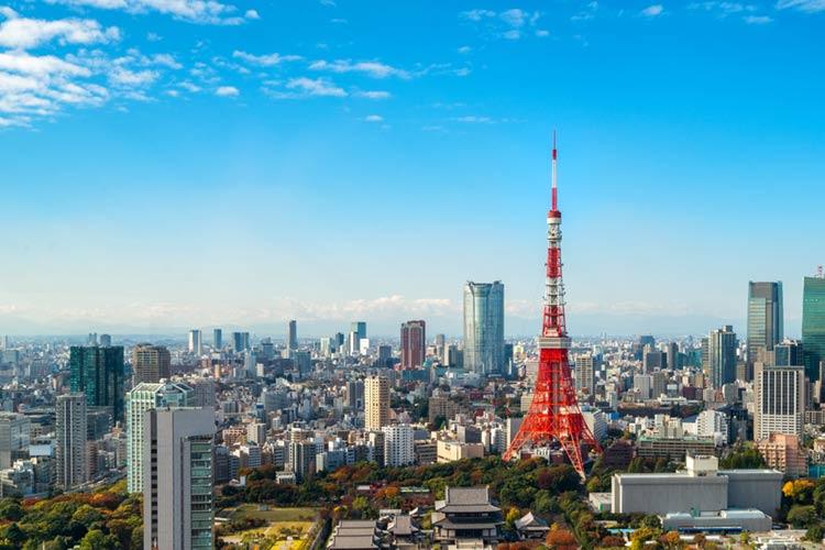 コロナ対策 東京 東京タワー 青空