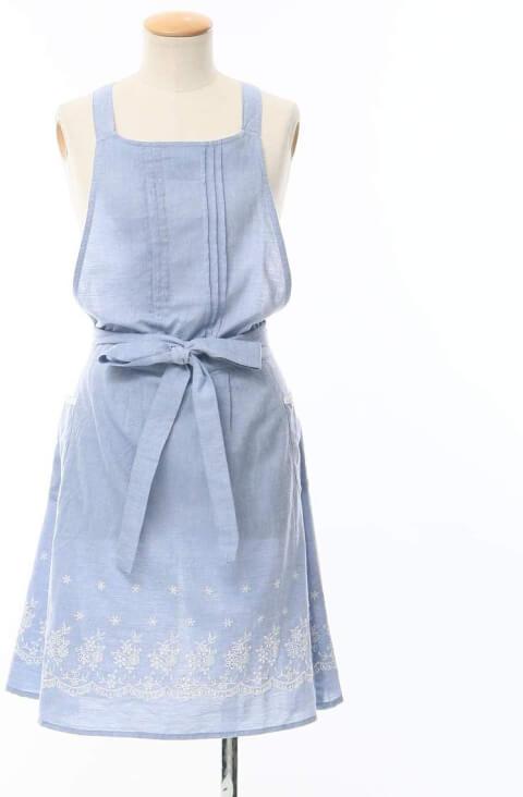 Afternoontea  エプロン ブルー 刺繍