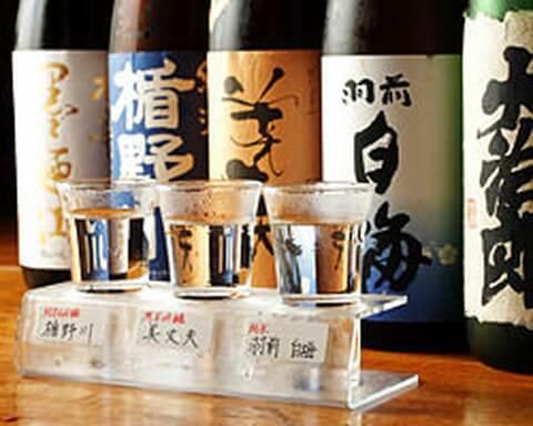 日本酒飲み比べ 呑者家 銅羅 新宿三丁目 おすすめ 居酒屋 海鮮 魚介 日本酒 美味しい