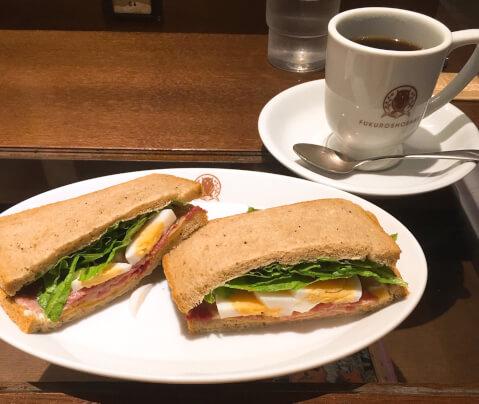 野菜サンドと梟ブレンド
