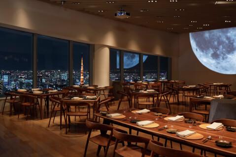 六本木 フレンチ ディナー レストラン ムーン 店内 テーブル席