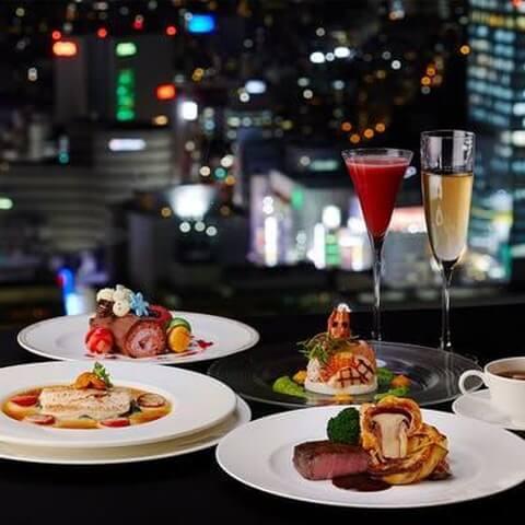 スカイラウンジ・オーロラ 新宿 クリスマス ディナー おすすめ ホテルレストラン