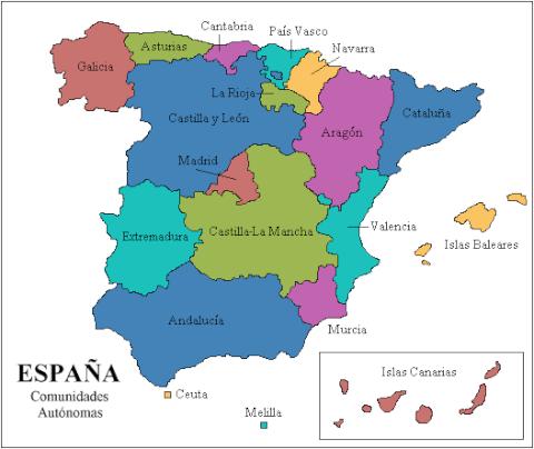 スペイン自治州マップ