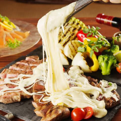 名古屋 居酒屋 名駅 国際センター  tefutefu 肉盛りプレート伸び~るアリゴチーズ