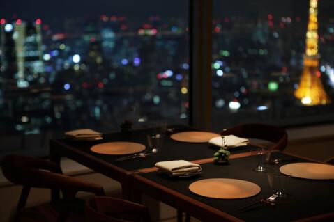六本木 フレンチ ディナー レストラン ムーン 店内 夜景