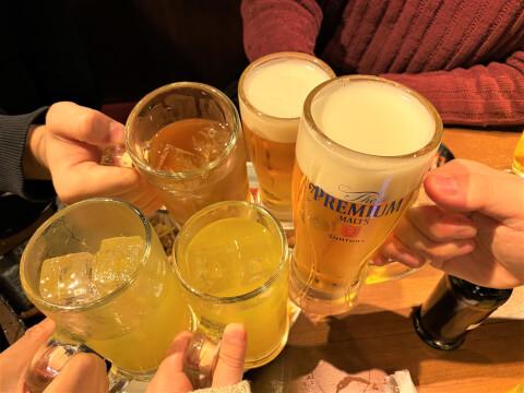 田町 居酒屋 とりいちず アルコール ビール 乾杯