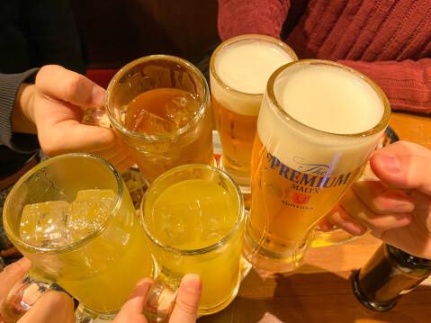中野 居酒屋 とりいちず アルコール ビール 乾杯