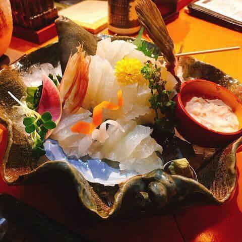 町田_居酒屋_ゆるり_酒槽_宴会_デート_魚_海鮮_かわはぎの活造り_カワハギ