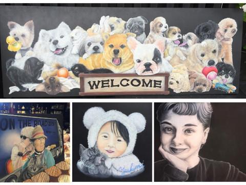 滋賀県 彦根市【チョークアート】小さなお子様からお年寄りの方まで大人気!指先だけで描くチョークアート1日体験