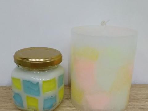 兵庫県 淡路島 【キャンドル制作体験】 ☆ 好きな色合いで、ふんわり可愛いピラーキャンドルとフレグランス入りの瓶キャンドルを作りましょう♪