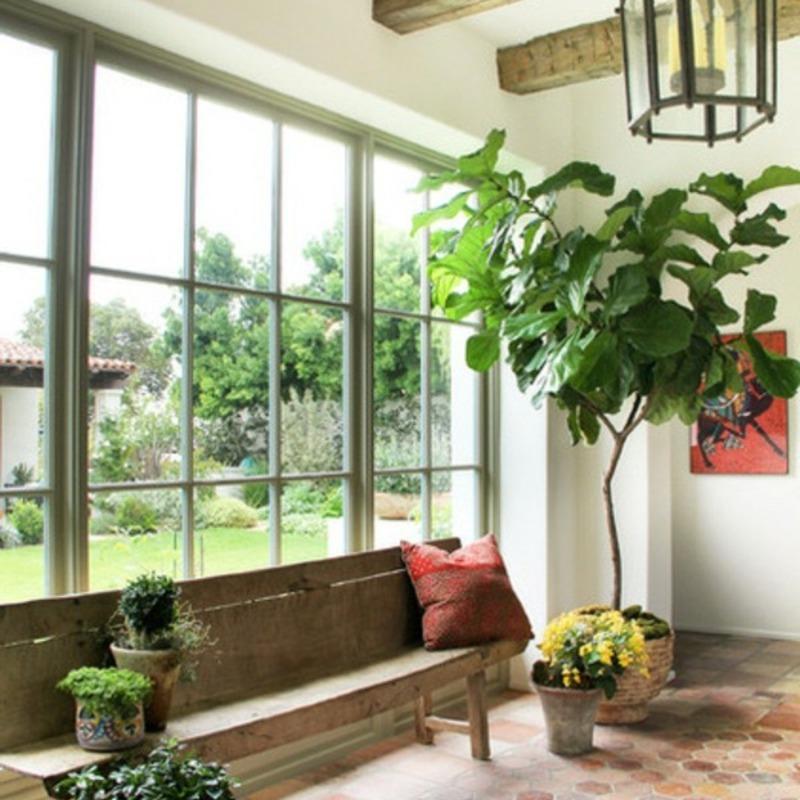 Plant as decoration mediterranean bench chandelier