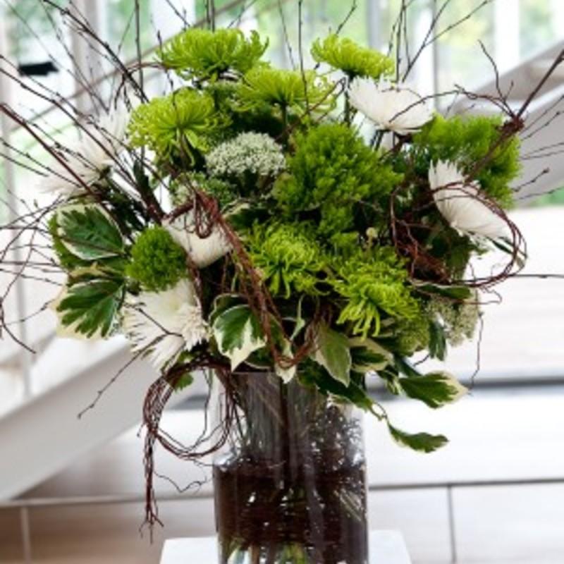 Modern green branch floral arrangement 300x450