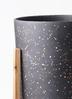 鉢カバー ホルスト シリンダー 6号鉢用 スパークルブラック ウッドポットスタンド付き #KONTON HO-R01B09V 2枚目