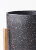 鉢カバー ホルスト シリンダー 8号鉢用 スパークルブラック ウッドポットスタンド付き #KONTON HO-R01B10V 2枚目