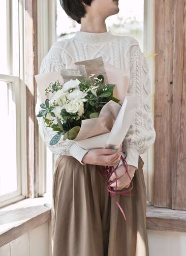 バラ 花束 白 S