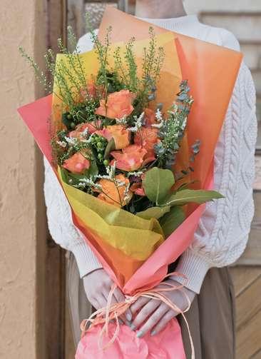 バラ 花束 オレンジ M
