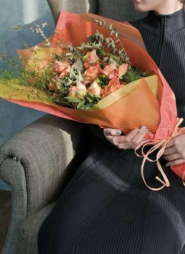 バラ 花束 オレンジ L