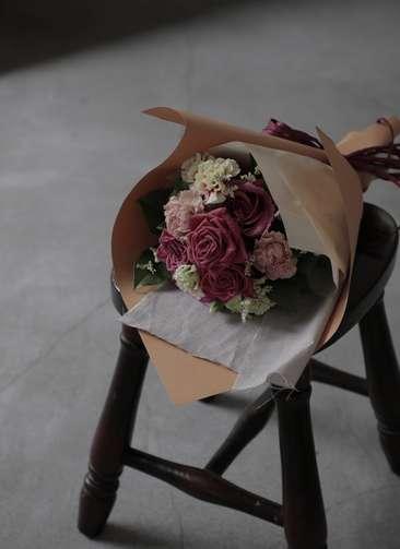 バラ 花束 ブラウン S