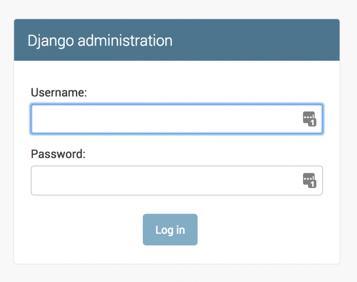 Djangoの管理画面のログインページ