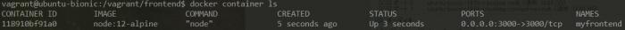 node.jsのコンテナが起動した様子
