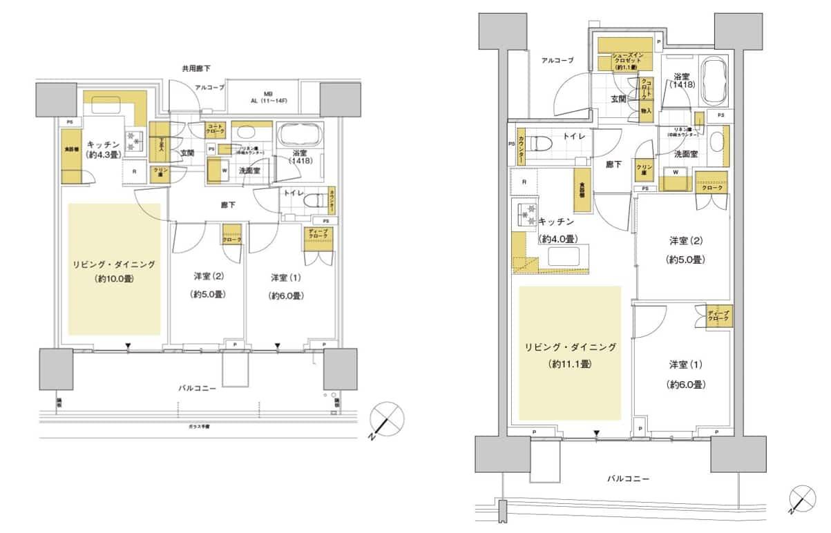 HARUMI FLAGの間取図(5B61Bと5C62B)