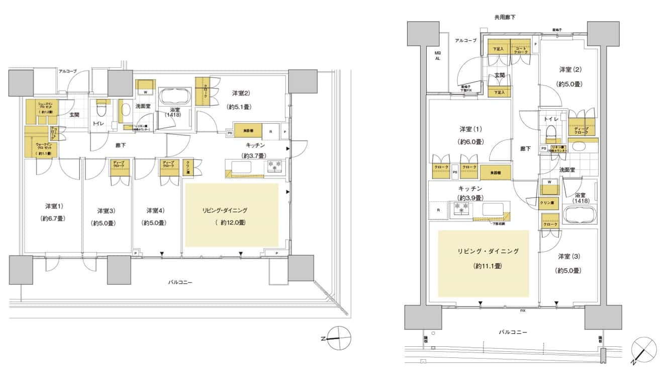 HARUMI FLAGの間取図(5D85と5C72B)