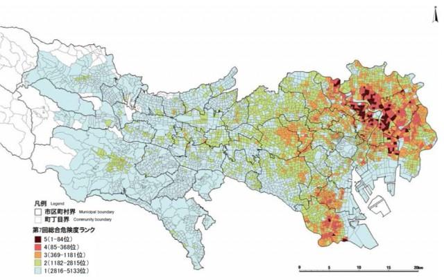 総合危険度ランキング 地図 (地震に関する地域危険度測定調査(第7回)より)