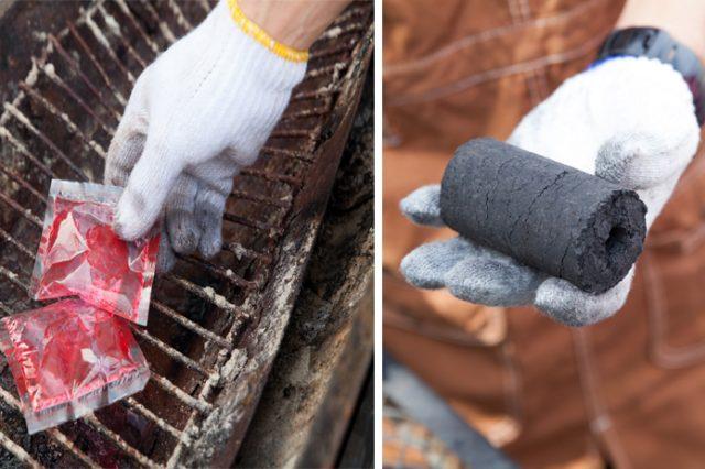 """左:着火剤は""""ケチらず""""に使いましょう 右:成形炭を使って高く積み上げるのが、火を長持ちさせるコツ"""