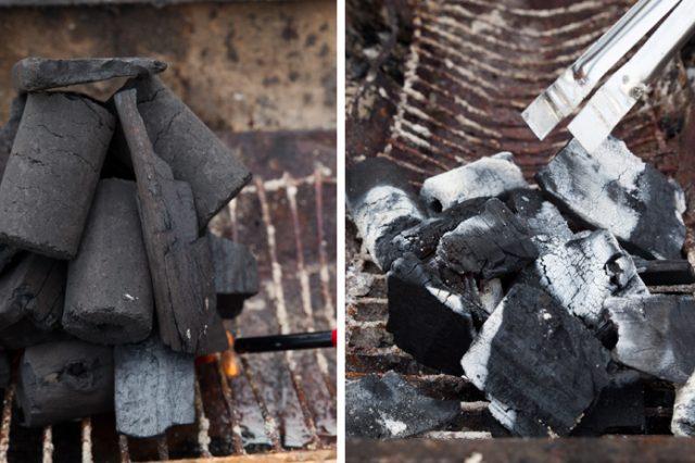 左:炭を高く積み上げて、根本の着火剤に火をつける 右:炭が白くなって崩れてきたら、いよいよバーベキュースタート!