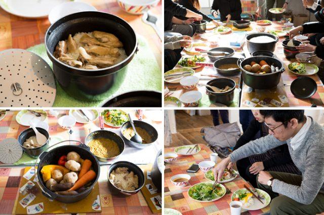 出来上がった料理は、参加者でテーブルを囲んで美味しくいただきました