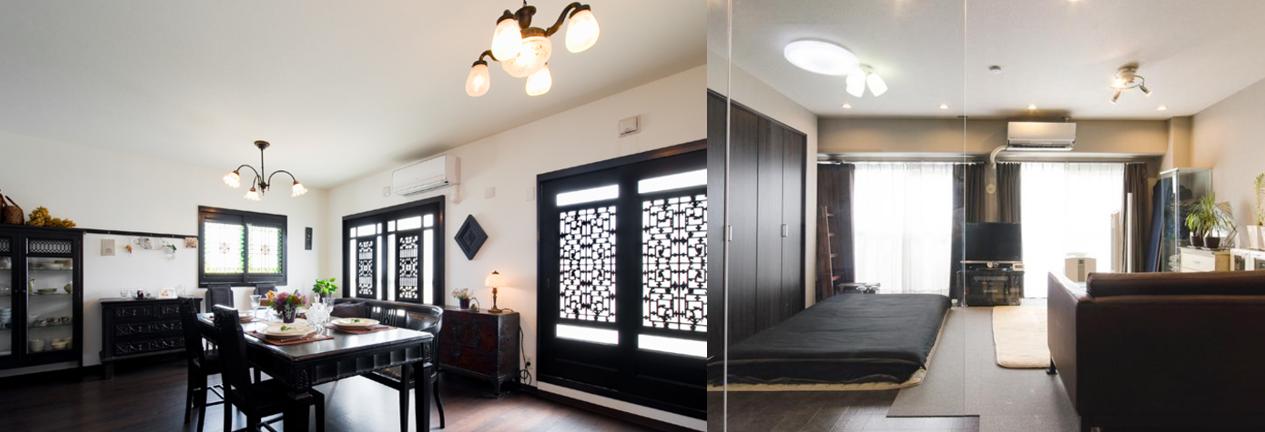 (左)大正時代の照明や李朝時代の家具などを集めていらした奥様のこだわりに合う素敵な空間に。(右)シックなトーンで統一しながらも明るく開放感のあるリビング