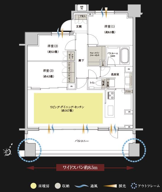 クリオレジダンス横濱ザ・マークス_Ftype間取り図