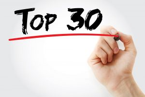 Hand writing Top 30 with marker