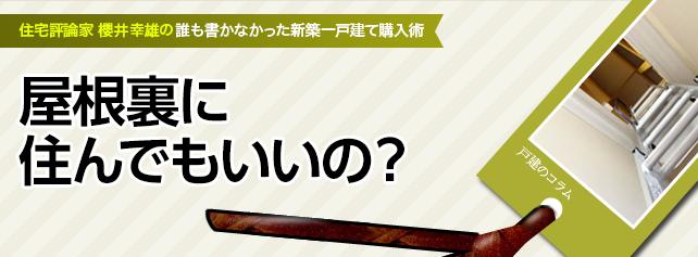 グルニエ(屋根裏収納)に住んでもいいのか?~櫻井幸雄の誰も書かなかった新築一戸建