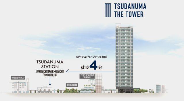 津田沼ザ・タワーの駅からの道のり図「WoMansion」