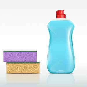 plastic bottle with detergent and sponge