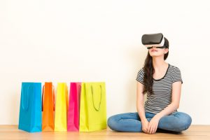 casual woman experience VR headset equipment