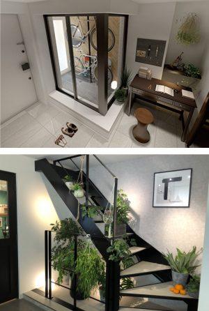 ザ・ロアハウス吉祥寺のサイクルスペースと階段