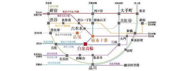ザ・パークハウスアーバンス白金の交通アクセス図